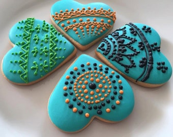 Henna Inspired Heart Sugar Cookies.  Great party favors for Indian theme wedding cookie bridal shower cookie  Order is for 1 dozen (12)