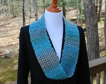 Crochet Infinity Scarf, Lightweight Scarf, Blue Green Scarf, Womens Scarf, Summer Scarf