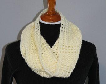 Off White Crochet Cowl, Hooded Cowl, Neckwarmer, Tall Crochet Cowl, Lightweight Cowl, Winter Fashion