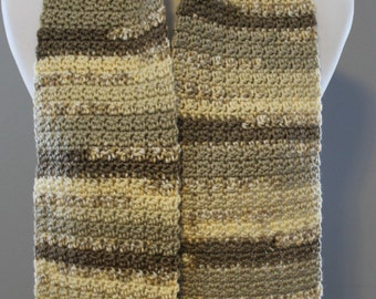 Brown Shades Crochet Scarf, Winter fashion