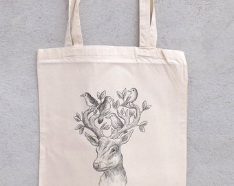 """Tote Bag """"deer and birds perched"""" - shopping bag"""