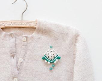 Brooch Pin Trending Jewelry. Crochet Brooch. Crochet Jewelry