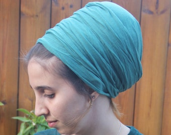 Pretty Long Extra Wide Drawn Green Headscarf For Women Green Turban Jewish Headcovering Headband Mitpachat Hair Snood African headwrap
