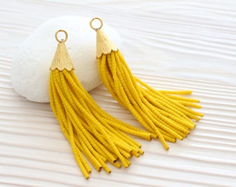 Yellow beaded tassel, short tassel, tassel earrings, gold cap tassel, tassel pendant, tassels for jewelry, boho, beaded tassel necklace, N3