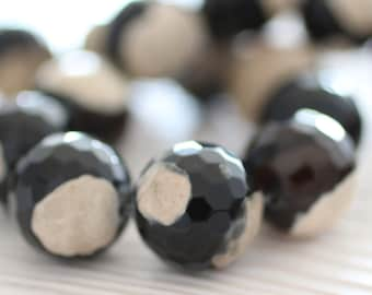 6pc-20mm round agate beads, black and white faceted agate, faceted gemstone, large agate beads, agate, loose gemstones, gemstone strands