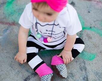 Baby leggings - Baby girl leggings - Black striped baby leggings - Toddler girl leggings - Pink baby leggings - Baby girl pants