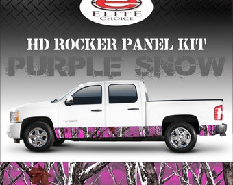 "Purple Snow Camo Rocker Panel Graphic Decal Wrap Truck SUV - 12"" x 24FT"
