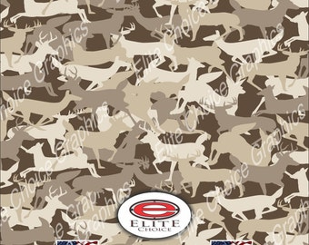 "Deer Buck Silhouette 15""x52"" or 24""x52"" Truck/Pattern Print Tree Real Camouflage Sticker Roll or Sheet"