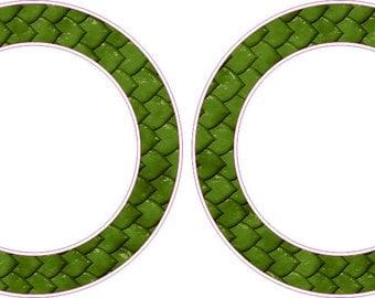 Green Fish Scales Rings Cornhole Board Hole Ring Stickers Baggo Vinyl Decal