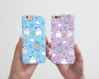 Cat Unicorn iPhone 6 Plus Case Couple iPhone 6S Plus Case Double iPhone SE Case Cute Phone Case iPhone 5 5S Case Samsung Galaxy Case cRR_05