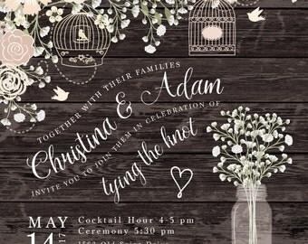 Country Chic Wedding Invitation Set