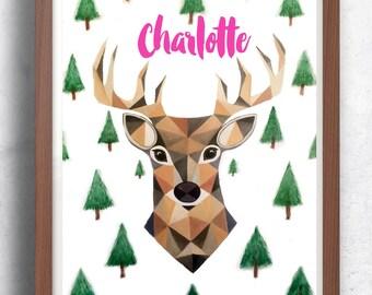Custom watercolor deer Print, Scandinavian digital print, watercolor forest, watercolour deer,  Woodlands print, Digital download, nursery