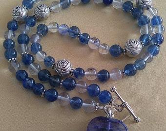 Blueberry Quartz Hearts Necklace