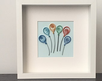 Paper Quilled Balloons in Frame