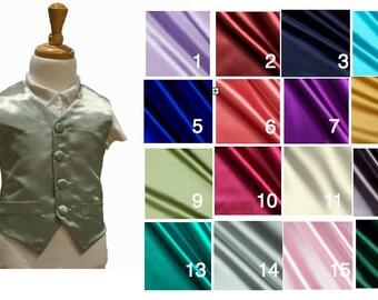 Boys Satin Vest | Customizable to your wedding colour | Smooth Satin Vest | Toddler vest | Satin Vest