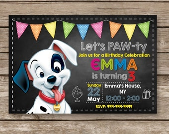Puppy Birthday Invitation, Puppy Theme Party, 101 Dalmatians Invitation, Disney Invitation, 101 Dalmatians