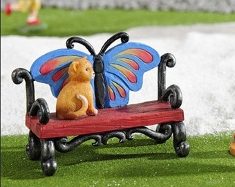 Mini Butterfly Bench with Cat