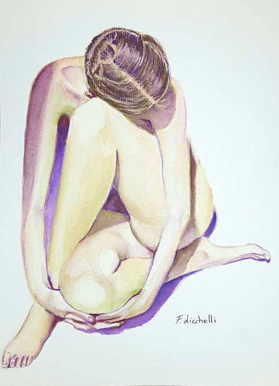 Nude, woman,watercolor,original,ooak,24x32 cm./9,4x12,6 inc.,gift idea, wall art, home decoration, bedroom.