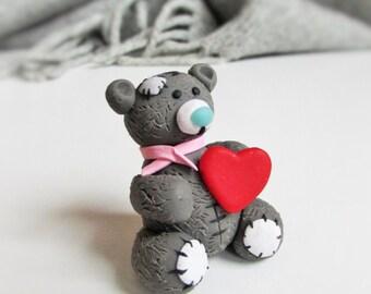 Polymer clay teddy bear, Polymer clay Souvenir, Polymer clay miniature