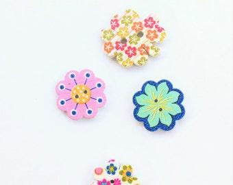 Summer Floral Button - Flower Button Notions, Embellishment, Craft Supplies Wood Button - Scrapbook Button - Wooden Button - Flower Button