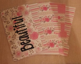 Filofax Compatible Planner Personal Dividers Floral Pattern Beautiful Girly Pink