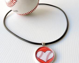 Baseball necklace - I heart baseball