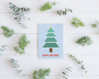 Pack of 5 Christmas cards, Merry Christmas card,  Illustrated Christmas tree, Fun Christmas card, Happy Christmas card, Seasons Greetings