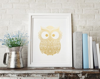 Gold foil print, Framed wall art, Owl art print, Owl nursery decor, Gift for her, Baby shower gift, Owl baby gift, New mom gift, Owl print
