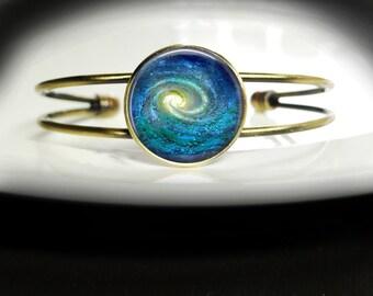 Spiral Galaxy Bracelet Spiral Galaxy Bangle Bracelet - Galaxy Nebula Bracelet Spiral Galaxy Jewelry - Galaxy Bracelet Spiral Bangle Jewelry