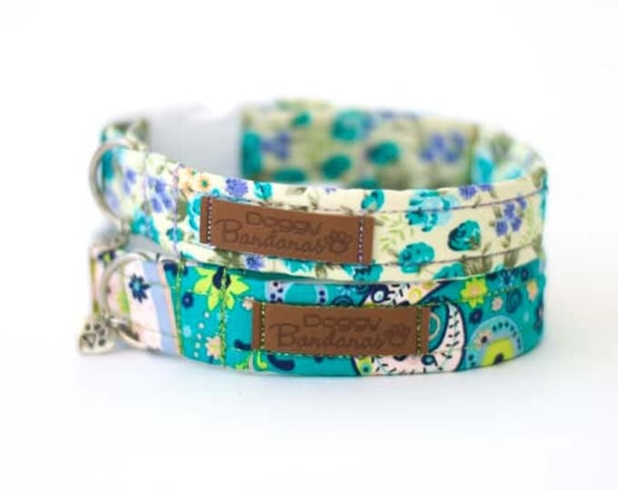 Trendy Dog Collar Green Paisley Dog Collar Colorful Girl Dog Collar Female Summer Dog Collar Cute Floral Dog Collar Pretty Flower Dog Collar