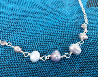 Silver Blue Freshwater Pearl Necklace