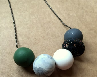 Khaki and Glitter Polymer Necklace