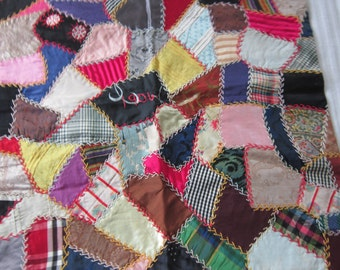 1906 Victorian Crazy Quilt Silk Pillow Cover