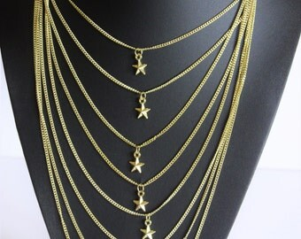 Silver/Gold Multi layered Star Chain Statement Necklace