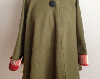 Olive Green Wool Cape