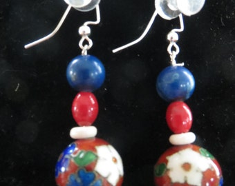Red, White and blue earrings.