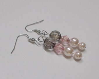 Fish Hook Earrings, Fishhook Earrings, Pearl Bead Earrings, Crystal Bead Earrings, See Through Bead Earrings, Beaded Earrings