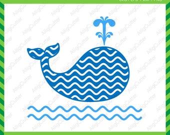 Whale Wave Pattern Monogram Frame SVG DXF PNG eps animal nautical Cut Files for Cricut Design, Silhouette studio, Sure Cuts A Lot, Makes Cut