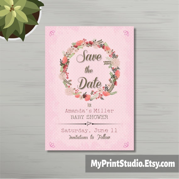 Save the Date Baby Girl Shower Card Template Save the Date