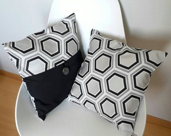 In black and grey geometric Cushion cover clear for a chic modern style