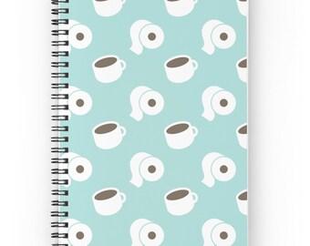 Coffee Journal - Toilet Paper Journal - Cartoon Notebook - Coffee Notebook - Spiral Notebook - Spiral Journal - Coffee - Blue Notepad