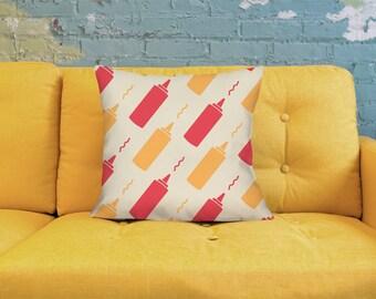 Ketchup Pillow - Mustard Pillow - Retro Pillow - Mid Century Pillow - Diner Pillow - Cute Pillow - Cute Throw Pillow - Retro Throw Pillow