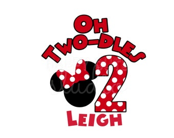 Oh Toodles Twodles Personalized Mickey Mouse Clubhouse Minnie Mouse Birthday Boy Birthday Girl Disney Party Iron On Decal Vinyl 4 Shirt 311