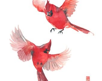 Two Cardinals Watercolor Painting Fine Art Giclee Print / Flying Birds Painting / Red Birds Watercolor / Wildlife Paintings