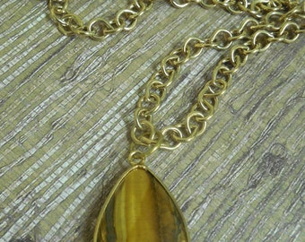 """30"""" long, Gold plated chain with tiger's eye drop pendant"""