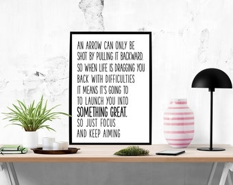 Typography quote Black and white Quote Just focus and keep aiming Motivational poster Quote art Inspirational art Office decor Art poster