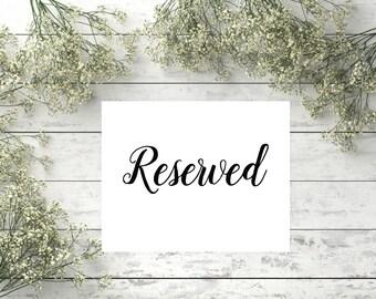 Reserved sign Printable black wedding sign Wedding Reserved Table Sign Instant download Printable Reserved Signs for Wedding Reserved sign