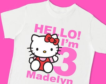 Hello Kitty Birthday Tee. Personalized Birthday Shirt with Name and Age. 1st 2nd 3rd 4th 5th 6th 7th 8th 9th Birthday Shirt. (15039)
