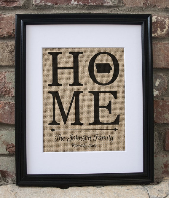 Iowa Home Sign Iowa Sign Burlap Framed Home Decor Rustic Art