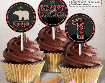 INSTANT DOWNLOAD - Lumberjack Birthday Cupcake Toppers - Lumberjack Party decorations
